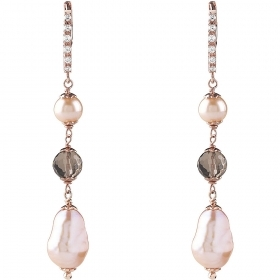 Bliss Silver Earrings with pink pearls pink 20081543