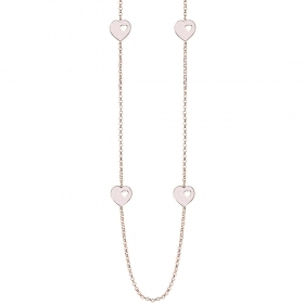 Bliss necklace with bronze hearts glitter pink 20077544
