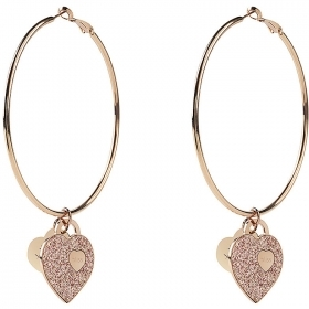 Bliss earrings bronze circle with heart symbol-glitter pink 20081451