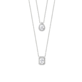 Bliss double necklace silver with pendant form teardrop and square 20085199