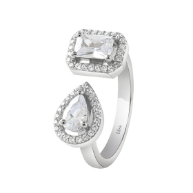 Bliss ring silver and cubic zirconia square shape and drop 20085333