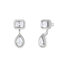 Bliss earrings silver and cubic zirconia square shape and drop 20085195