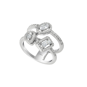 Bliss silver ring 2 bands with cubic zirconia 20085348