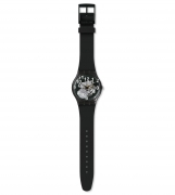 SWATCH MENS WATCH BLACK STRAP TRANSPARENT DIAL SUOK135
