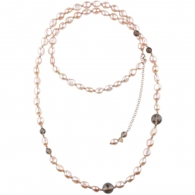 Bliss Necklace silver with Pearls, Hematite and Quartz Fume 20081496