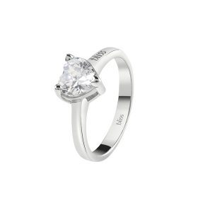 Bliss silver Ring with cubic zirconia in the shape of a heart 20085018