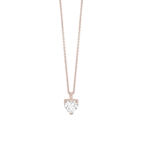 Bliss collierino silver rose with cubic zirconia heart 20085220