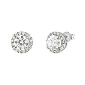 Bliss earrings silver with cubic zirconia round 20085028