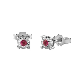Bliss earrings in white gold with rubies dew colors ct 0,12 Ref. 20081340