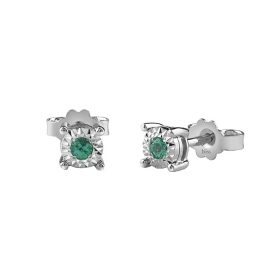 Bliss earrings in white gold with emeralds dew colors ct 0,12 Ref. 20081341
