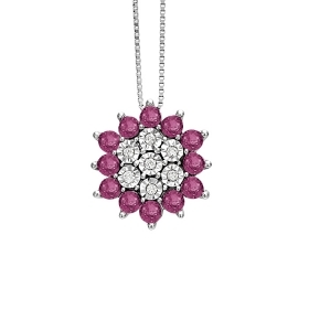 Bliss necklace in white gold with ct diamonds 0.35 and rubies Ref. 20081579