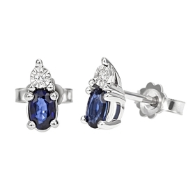 Bliss earrings in white gold with diamonds ct 0.02 and sapphires ct 0,80 Ref. 20069991