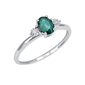 Bliss ring white gold with diamonds ct 0.02 ct emerald 0.60 in Ref. 20074411