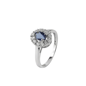 Bliss ring in white gold with diamonds and sapphire ct 0,95 Ref. 20074150
