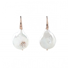 Bliss earrings silver rose beads with flat 20077690