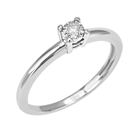 Bliss ring solitrio white gold with diamond ct 0,05 Dew Ref. 20069895