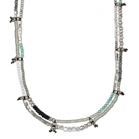 UNO DE 50 Necklace pewter silver-plated with stones, resin Ref. COL0988MTLVRDOU