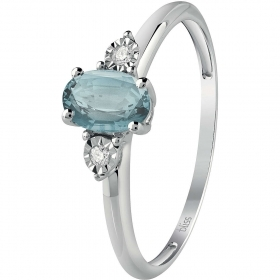 Bliss ring white gold with diamonds ct 0.02 and aquamarine stone Ref. 20082850