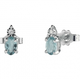 Bliss orechini white gold brilliant ct 0.02 and aquamarine stone Ref. 20082852