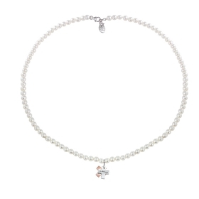 Salvini necklace pearls with cross in gold and diamonds ct 0,01 Ref. 20063453