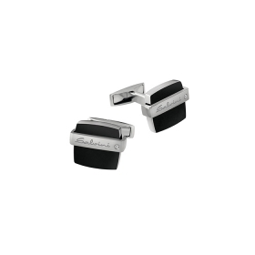 Salvini Cufflinks silver and onyx with diamond ct 0,01 Ref. 20069082