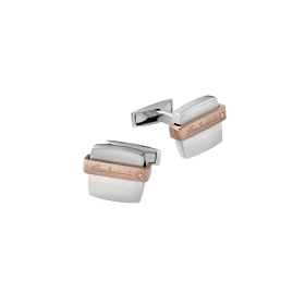 Salvini Cufflinks silver and rose gold with diamond ct 0,01 col. Jazz Ref.20069080