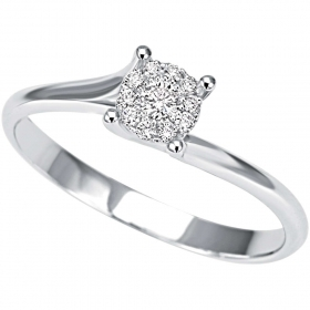 Bliss solitaire ring white gold and diamonds ct 0,13 Caresse Ref. 20067338