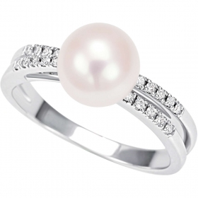 Bliss ring in white gold with pearl and diamonds ct 0,10 collection. Diana Ref.20066978