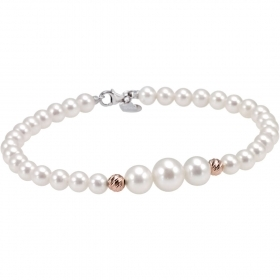Bliss bracelet with pearls river mm 4.5/5 with inserts of rose gold-Paradise Ref.20071003