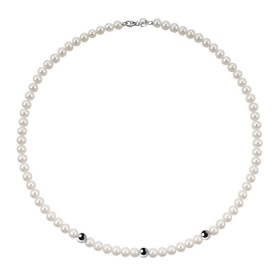 Bliss necklace pearl river mm 5/5,5 3 inserts white gold Paradise Ref.20067171