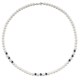 Bliss necklace pearl river mm 5/5,5 and 9, inserts, white gold Paradise Ref.20066983