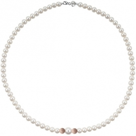 Bliss necklace pearl river mm 5,5/6 and 2 inserts pink gold Paradise Ref.20066960