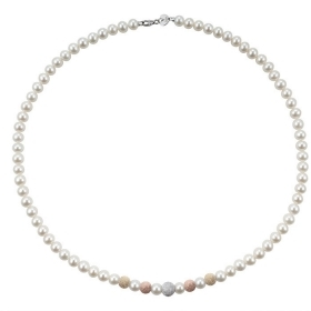 Bliss Paradise Necklace pearls mm 5,5/6 and 5 inserts of rose gold/white Ref.20067162