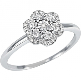 Bliss Ring with diamonds ct 0.14 in flower shape collection.Elixir Ref.20067366