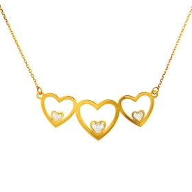 Bliss Necklace mon amour gold heart symbol with diamonds ct 0,13 Ref.20073583