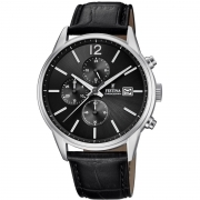Festina chronograph watch men Timeless 43mm black dial F20284/4