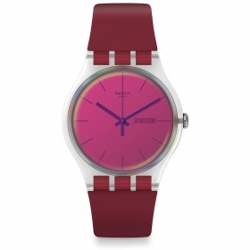 SWATCH WATCH WOMEN'S ONLY TIME BORDEAUX POLARED SUOK717