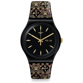 SWATCH watch royal key black with strap reasons gold SUOB730