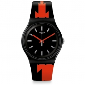 SWATCH watch only time unisex two-tone orange and black SUOB167