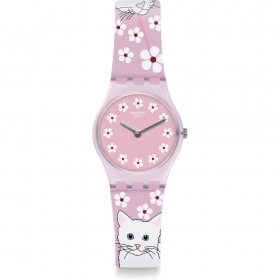 SWATCH WATCH ONLY TIME PINK STRAP WITH CATS LP156