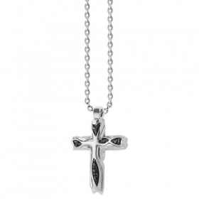 ZANCAN Necklace silver man cross with spinels blacks EXC446
