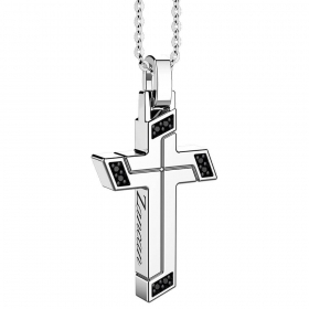 ZANCAN Necklace with silver cross and spinelli black EXC488