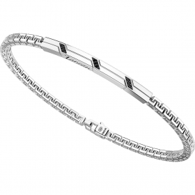 ZANCAN Bracelet in silver with a mesh-style Greek with spinelli blacks EXB728