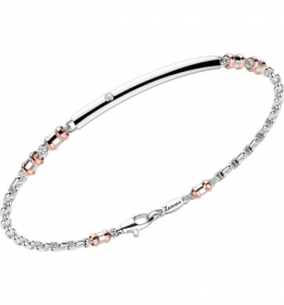 ZANCAN Bracelet in white gold with inserts of rose gold with a diamond EB704BR