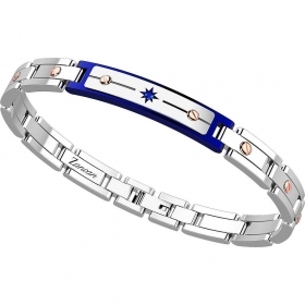Zancan Bracelet Man stainless Steel With Pvd Rose Gold And Blue EHB136-B
