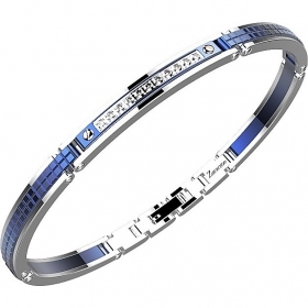 Zancan Bracelet in steel color with blue sapphires and white EHB168