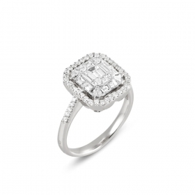 Old bridge Ring in white gold with diamonds Ref. CA1517BRW