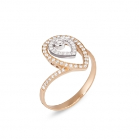 Old bridge Ring in rose and white gold 18 kt and diamonds CA1550BRWR
