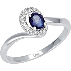 Bliss Ring With Brilliant And Sapphire In White Gold 20070049