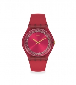 SWATCH woman watch red with crystals in the dial SUOP111